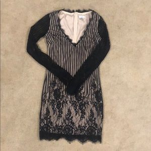 Tobi Lace black and nude dress